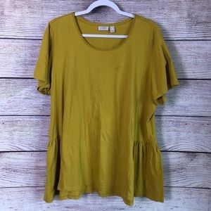 LOGO Mustard Boho Lagenlook Shirt